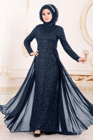 Women's Sequined Navy Blue Evening Dress