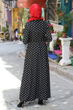 Women's Polka-Dot Black Modest Dress