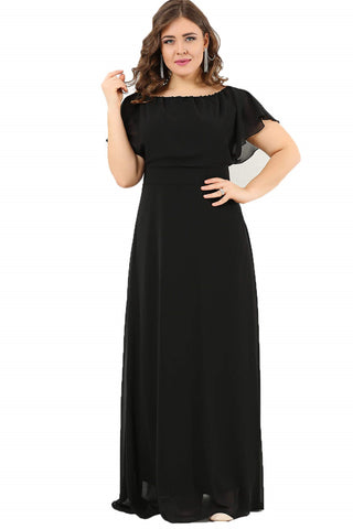 Oversize Long Chiffon Evening Dress