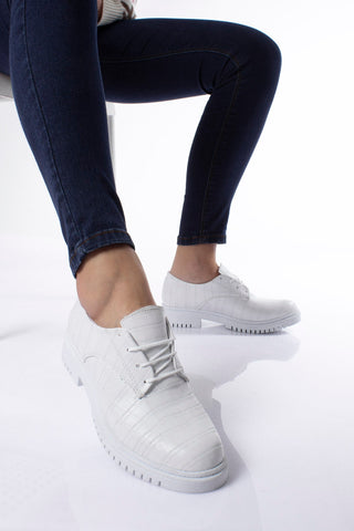 Women's Lace-up White Crocodile Shoes