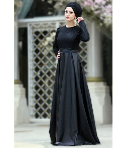 Women's Lace Top Black Leather Evening Dress