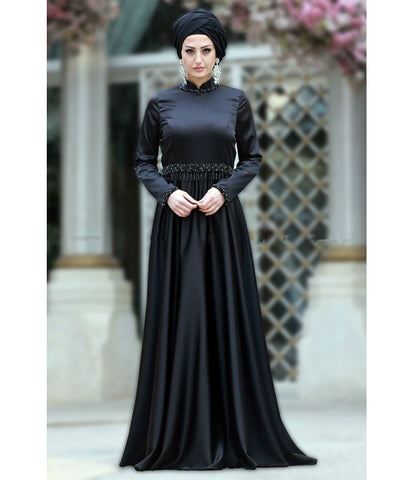 Women's Gemmed Black Stylish Evening Dress