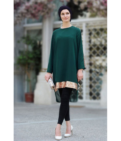 Women's Sequin Emerald Green Tunic