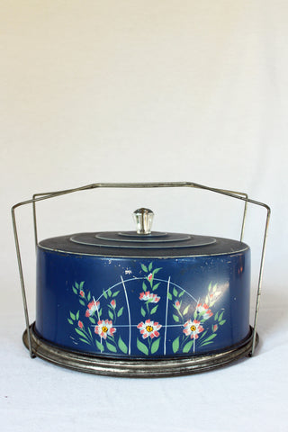 Blue Floral Cake Carrier