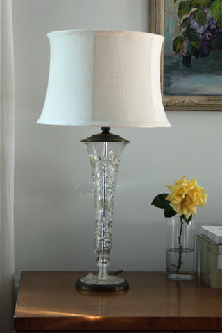 Floral Etched Glass Lamp