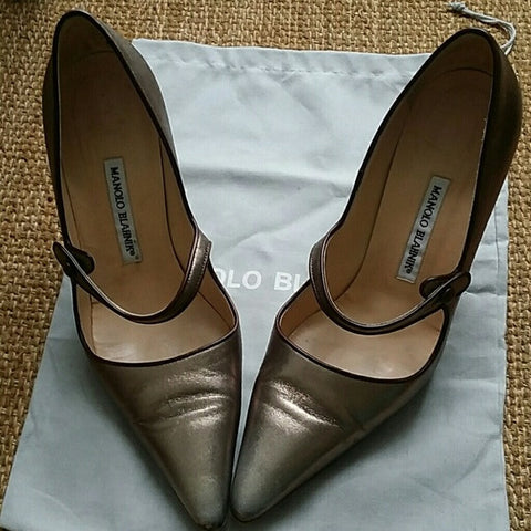 Manolo Blahnik Metallic Mary Jane Pumps (9)