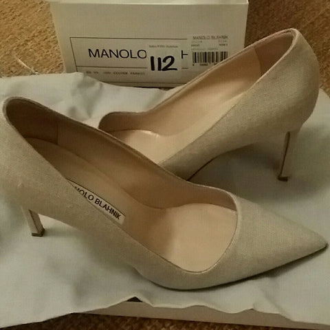 Manolo Blahnik Metallic Fabric Heels (8.5)