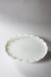 Scalloped Milk Glass Cake Plate