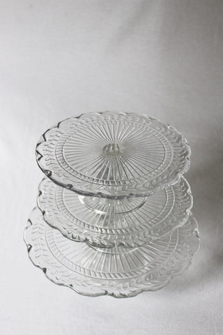 Trio of Pressed Glass Cake Plates