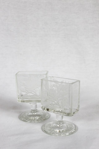 Etched Rose Vanity Pair