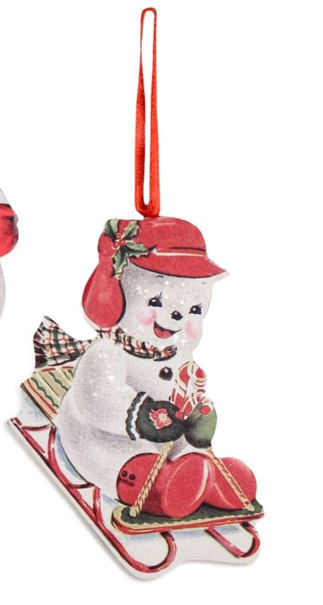 Sled Snowman Board Ornament
