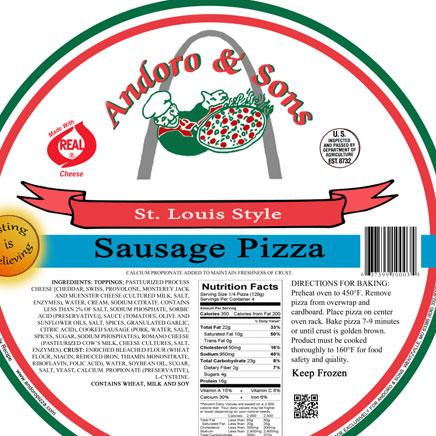 "Pizza, 12"" Sausage (local Andoro & Sons Pizza) - ITEM 6081"