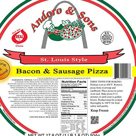 "Pizza, 12"" Bacon & Sausage (local Andoro & Sons Pizza) - ITEM 5915"