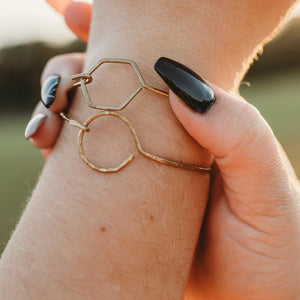 Two Brass Circle and Hexagon Bracelet Set