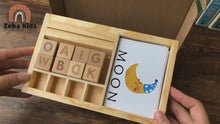 Load and play video in Gallery viewer, Montessori wooden Spelling blocks and cards