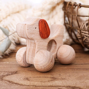Wooden teethers with wheels