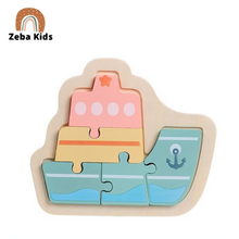 Load image into Gallery viewer, Wooden educational Montessori puzzle for babies and toddlers