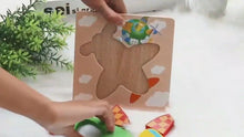 Load and play video in Gallery viewer, Montessori colorful wooden puzzle for babies