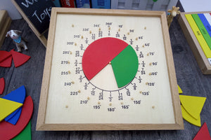 Montessori fraction and angle pie learning board