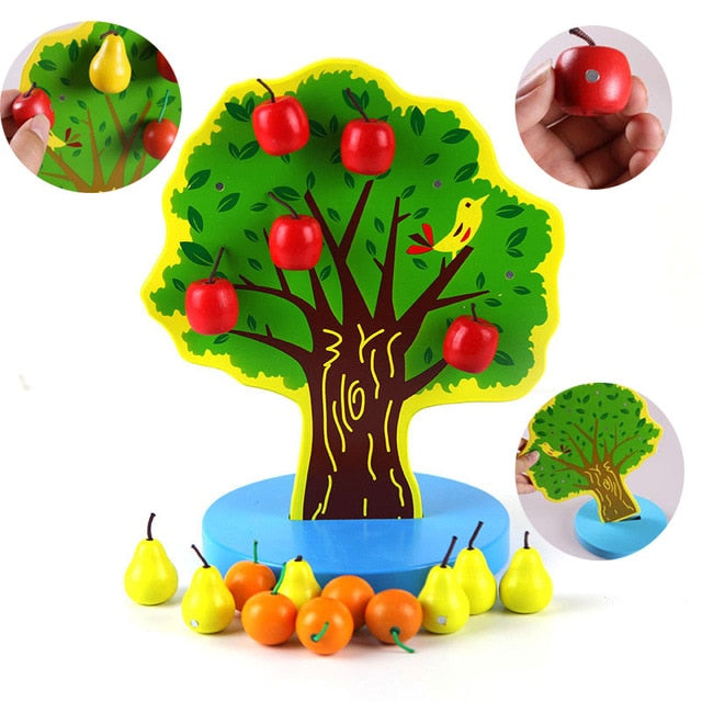 Wooden magnet fruit tree with apples and pears