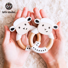 Load image into Gallery viewer, Wooden Fox Baby Teether for grasping and teething