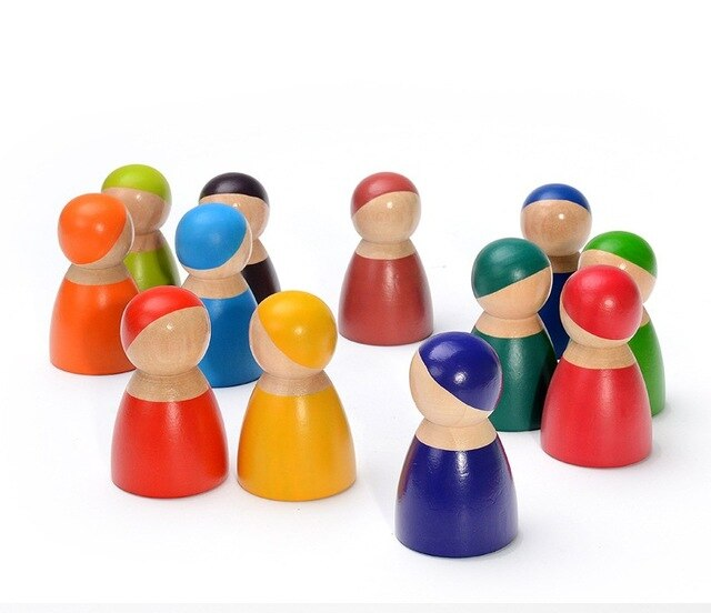 Wooden peg dolls Montessori pretend play figures