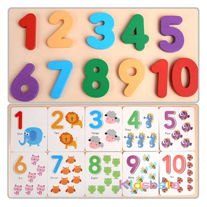 Wooden number puzzle and cards 0-10