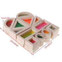 Load image into Gallery viewer, Acrylic transparent rainbow wooden blocks