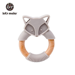 Wooden Fox Baby Teether for grasping and teething