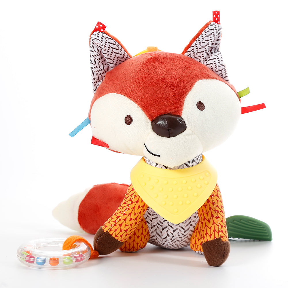 Fox plush toy rattle-teether-clip