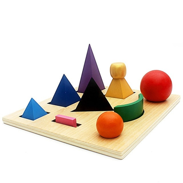Montessori wooden geometry Shape Board for preschool educational sensory learning