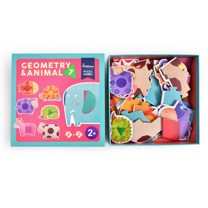 My first 7 Animals thick big puzzle with geometric shapes