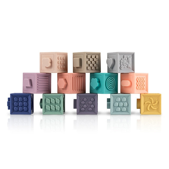 3D Soft Sillicone block cubes for teething and bath