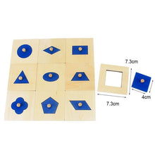 Load image into Gallery viewer, Classic Montessori shape fitting cards with knobs