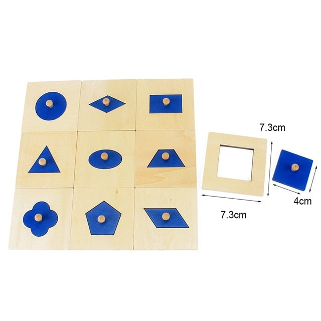 Classic Montessori shape fitting cards with knobs