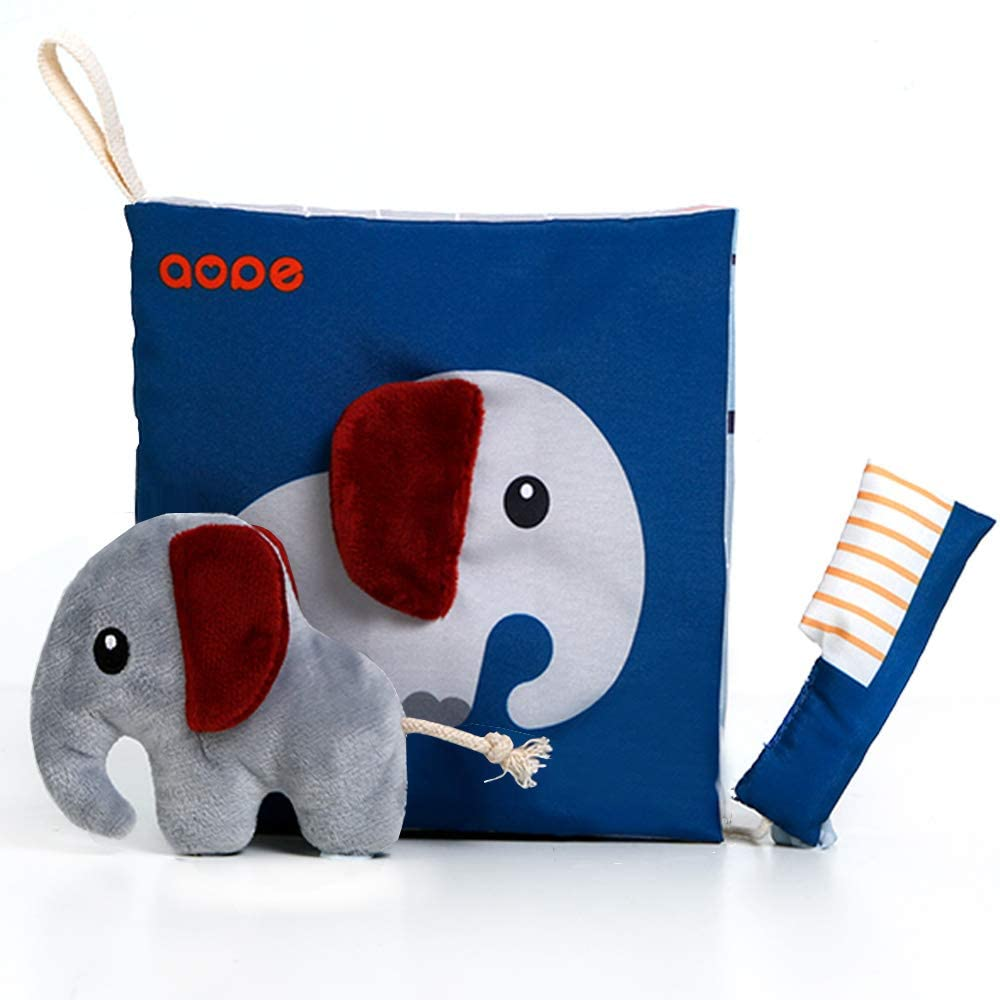 Soft Elephant life cloth book with flaps