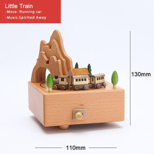 Personalized wood music box with clockwork mechanism