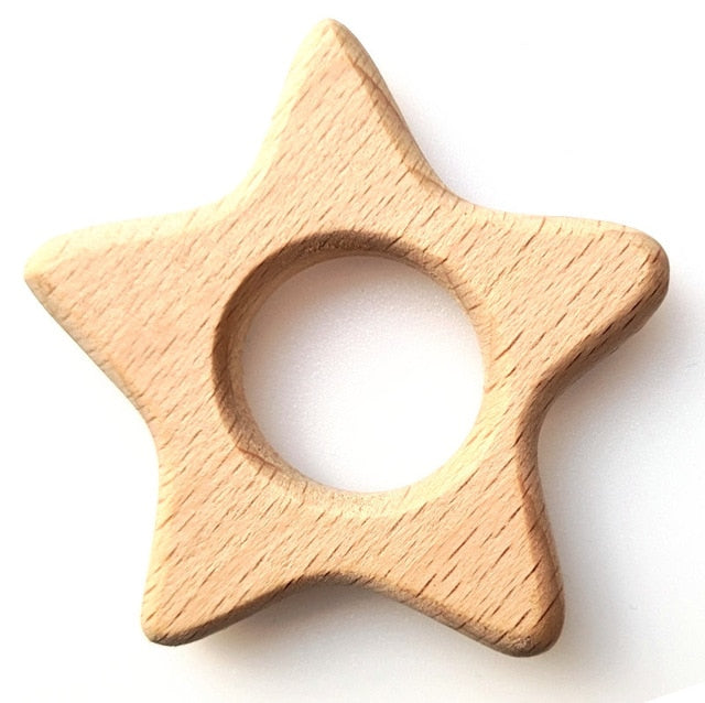 Organic wooden teething ring with ears