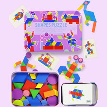 Load image into Gallery viewer, Tangram style wooden puzzle for toddlers