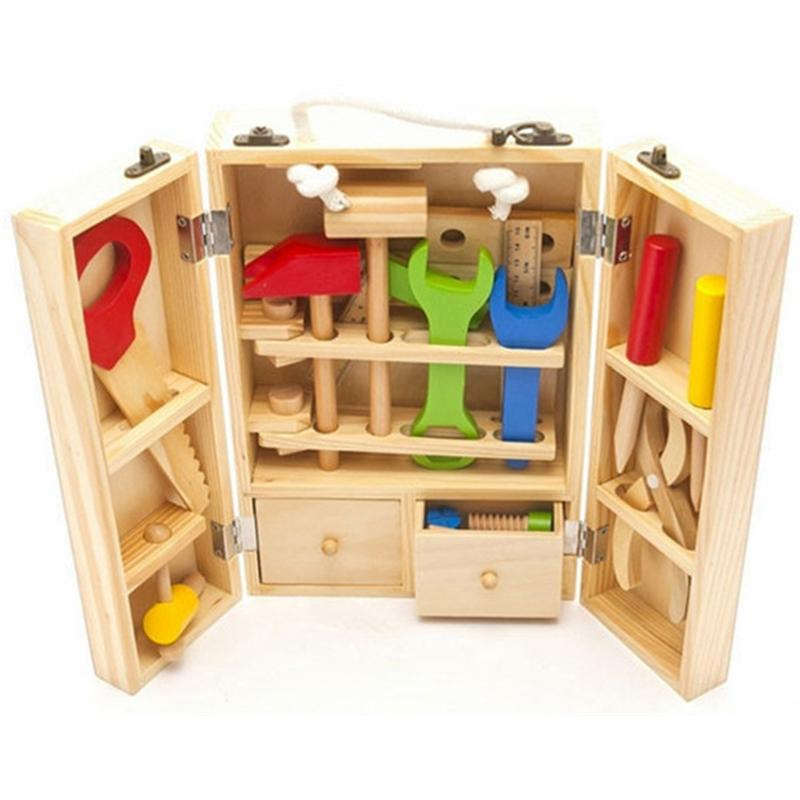 Wooden pretend play tool box for toddlers