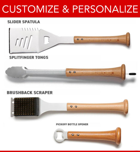 Baseball BBQ: 4-Piece Grand Slam Tool Set (Customized Handles)