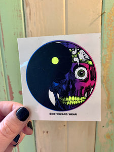 80s vintage Blacklight reactive yin yang sticker