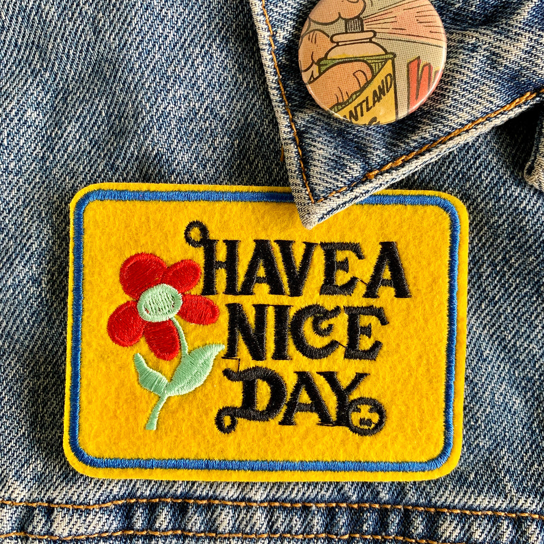 Have a Nice Day - retro iron on patch