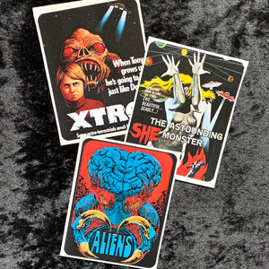 Pulp Sci-Fi Horror Movie Poster Stickers Set