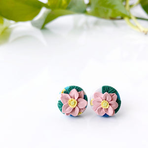 Japanese Anemone Circle Stud Earrings