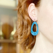 Load image into Gallery viewer, Peacock Blue Monochrome Cut-out Dangle Earrings