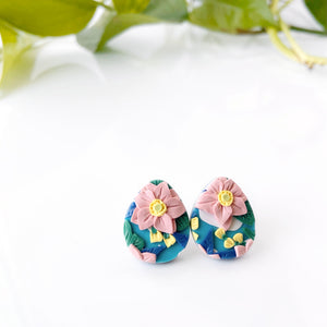 Japanese Anemone Tear Drop Stud Earrings