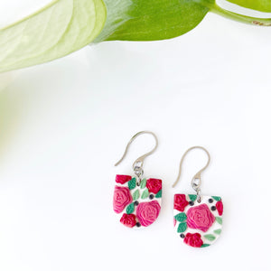 Rose Reverse Arch Dangle Earrings