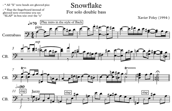 Snowflake for SOLO double bass