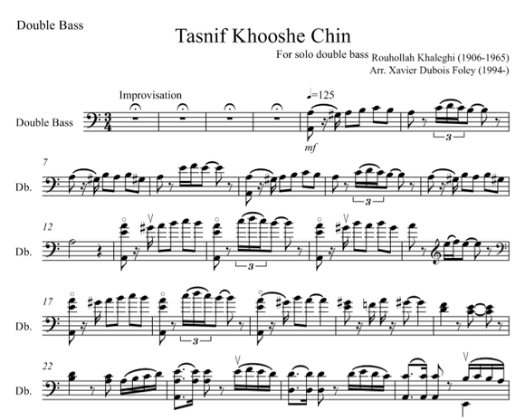 روح الله خالقی به عنوان خالق (Tasnif Khooshe Chin) for SOLO double bass